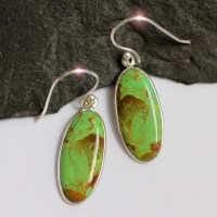 Green Apple Rare Gaspeite Sterling Silver Earrings