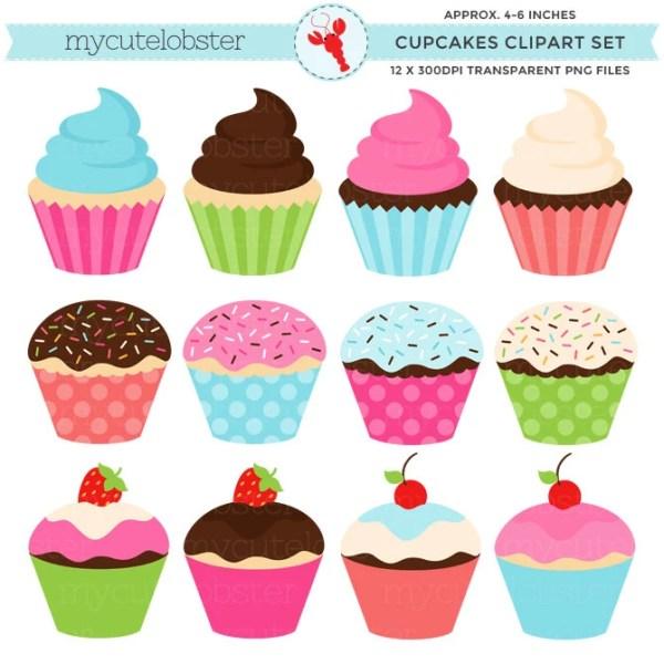 cupcakes clipart set clip art