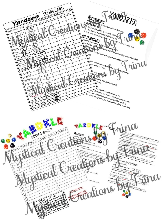 YARDZEE or YARDKLE LAMINATED Score/Rules Sheet by KinPac