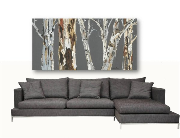Extra Large Wall Art Print Tree Rolled Canvas Pastels Gray