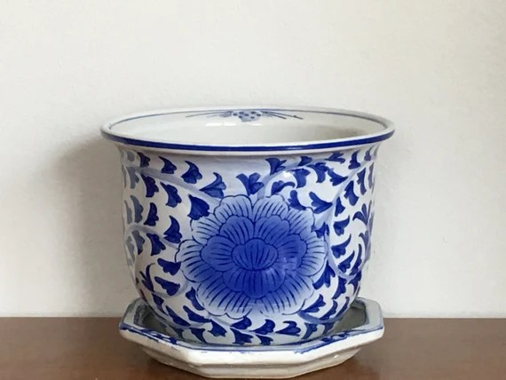 Vintage Chinoiserie Planter Blue White Ceramic Flower Pot Chinese Asian Indoor Planter