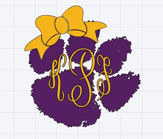Monogrammed LSU Tigers Paw Print with Bow Decal