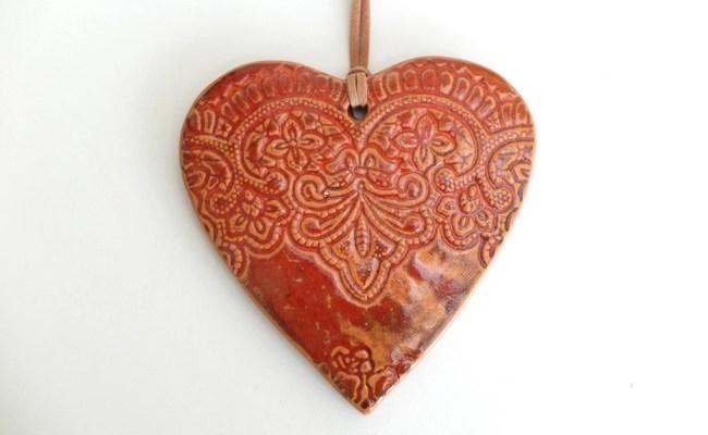 Heart Shape Wall Décor Ceramic Orange Color Wall Décor