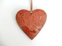 Heart shape wall dcor ceramic orange color wall dcor