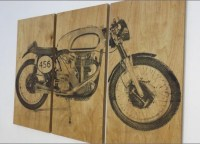 Vintage Motorcycle Screen Print Wood Painting Wall Art on