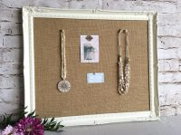 White bulletin board shabby chic decor framed cork board