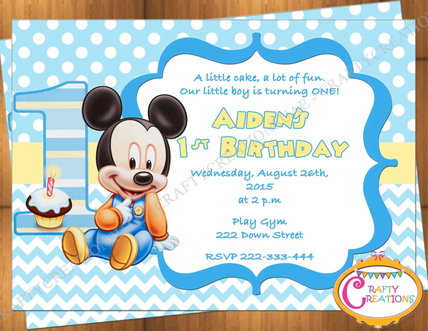photograph regarding Free Printable Mickey Mouse 1st Birthday Invitations identify Mickey Mouse Initially Birthday Invites - Anarchistshemale