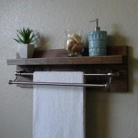 Modern Rustic Bathroom Shelf with 24 Brushed Nickel by ...