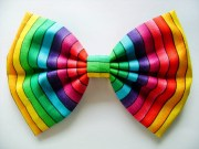 rainbow bow handmade fabric hair