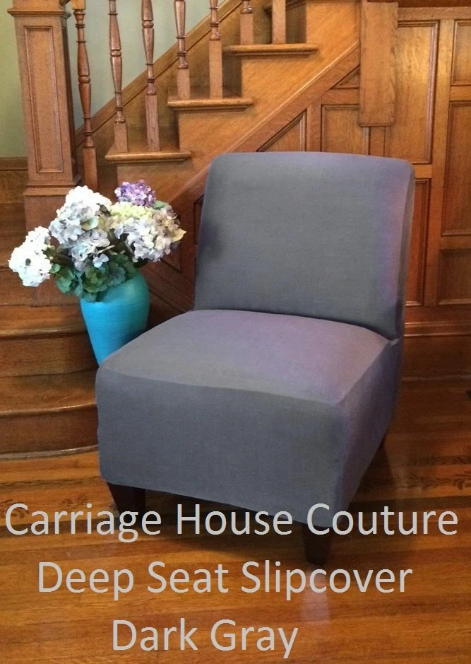 Slipcover Dark Gray Suede Chair Cover for by