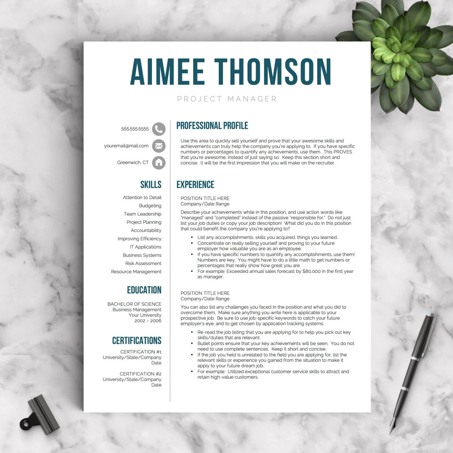 Creative Resume Template For Word Amp Pages 1 2 And 3 Page