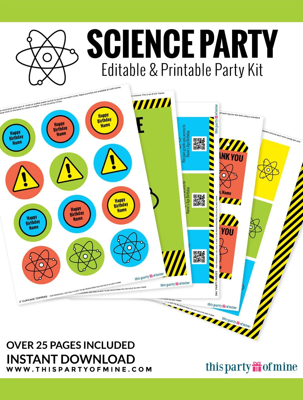 Science Party Invitation & Decorations Kit Printable Mad