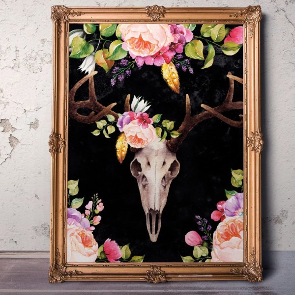 Bohemian Wall Decor Floral Deer Skull Printable Southwestern