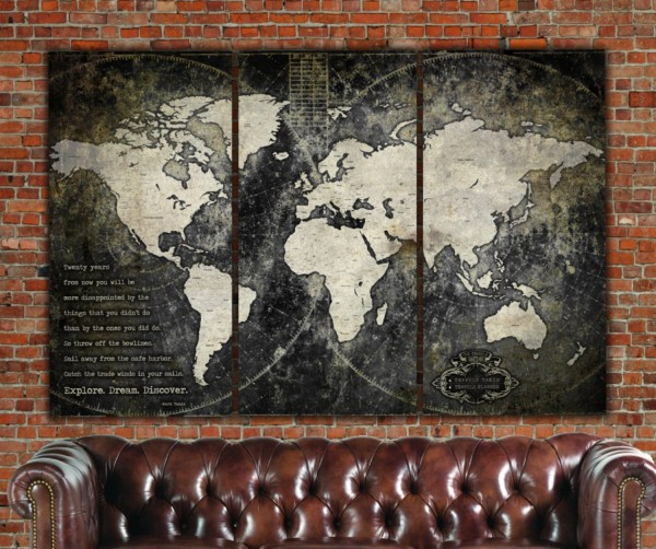 Industrial World Map Canvas Vintage Large Wall Art