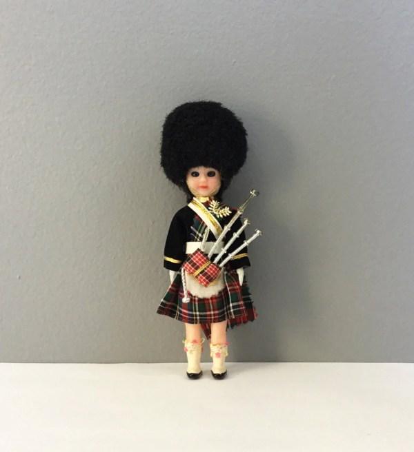 Vintage Scottish Bagpiper Tartan Kilt Doll Scot Boy Robert