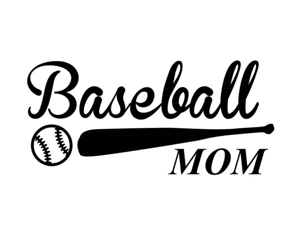 Custom Baseball Mom vinyl decal with bat and ball detail