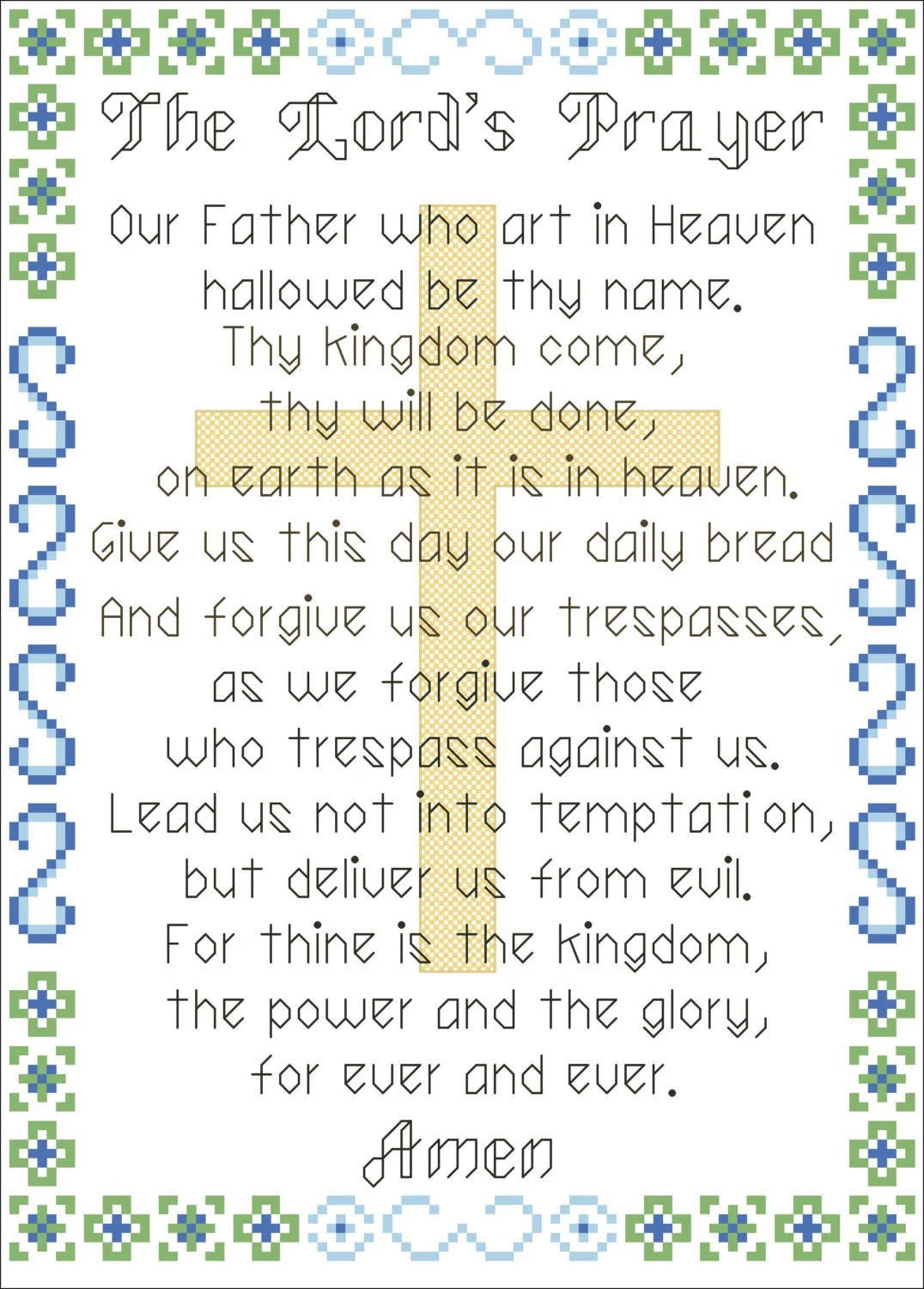 Counted Cross Stitch Pattern The Lord S Prayer Instant