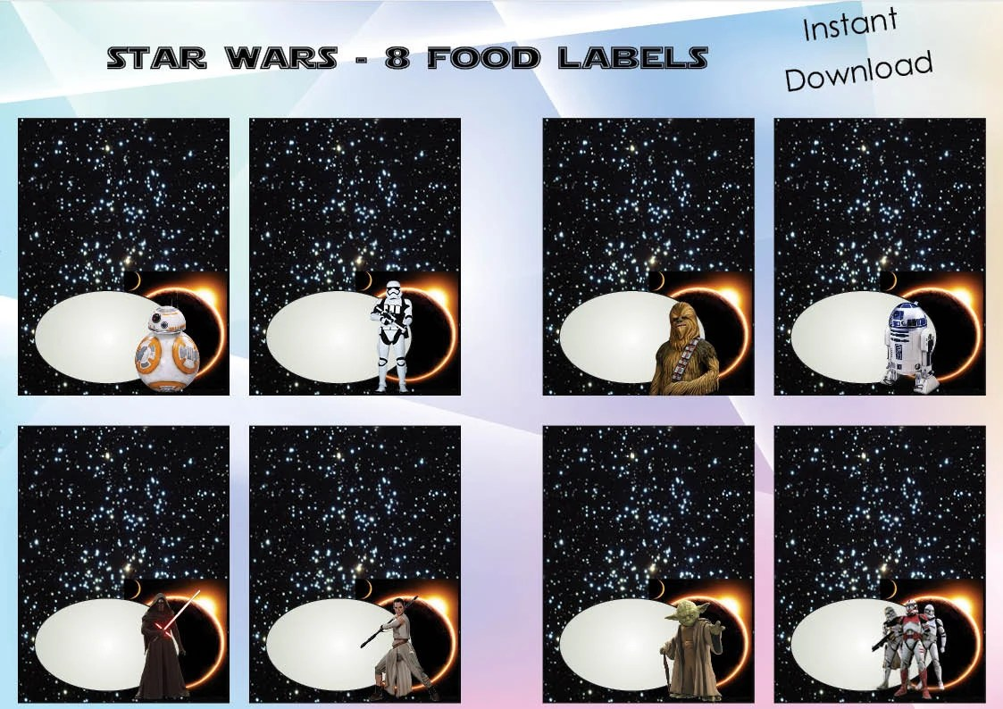 Star Wars Food Labels Star Wars Party Star Wars By Nsprintdesign