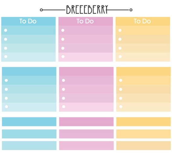 To do ombre stickers and blank stickers for planners, journals and diaries