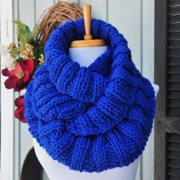 Chunky Knit Infinity Scarf Royal Blue Scarf Knitted