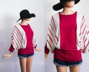 Vintage Batwing Sweater Slouchy Striped Knit Top 80s