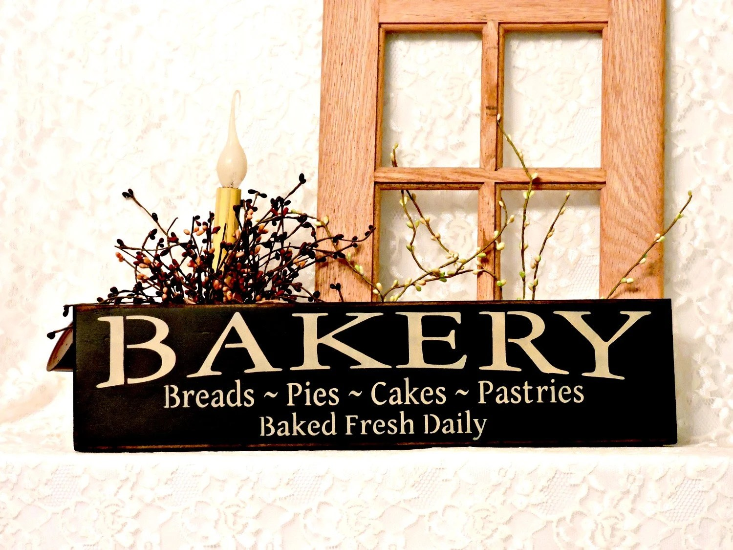 Bakery Breads Pies Cakes Pastries Baked Fresh Daily Sign