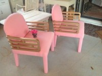FUNKY RETRO ARM CHAIRs Pair of Pink Upholstered Chairs with