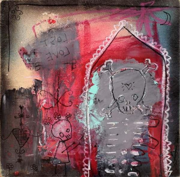 Abstract Skeletons Art Print. Outsider Artbrut Gothic