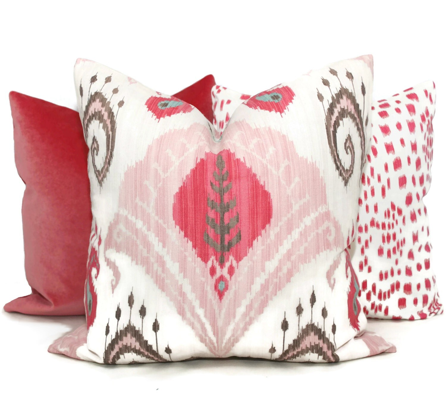 Blush Pink Ikat Decorative Pillow Cover 18x18 20x20 or 22x22