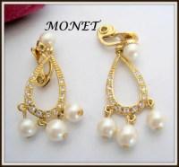 Monet Pearl Earrings Dangle Rhinestone Wedding Clip
