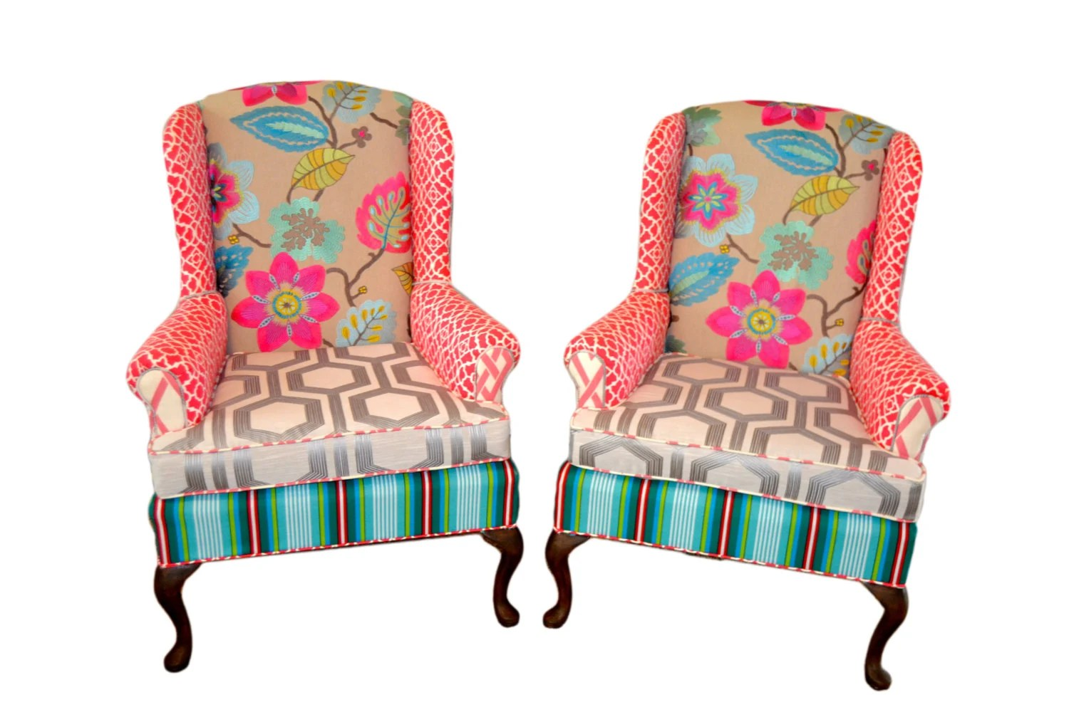 custom made throne chairs office chair back support cushion wingback upholstered vintage with pink and