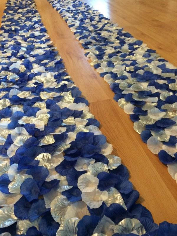 Blue White And Silver Wedding Aisle Runner Border Custom