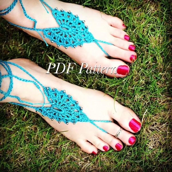 Beaded Bohemian Barefoot Sandals Pdf Pattern Boho