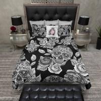 Lightweight Sugar Skull Bedding Black Mega Print by InkandRags