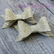 set of 2- layered glitter bows