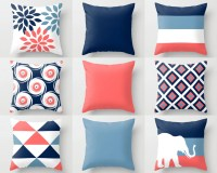 Throw Pillow Cover Navy Stone Coral White Pillow Cover Couch
