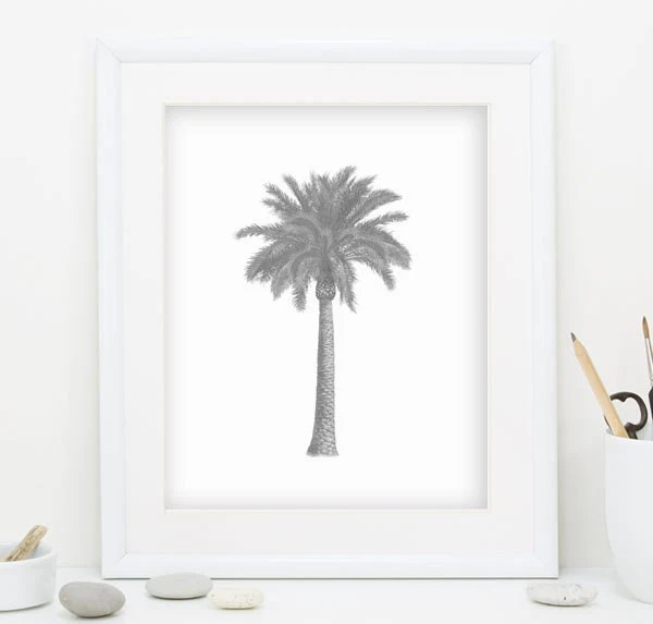 Gray Palm Tree Print Gray Wall Art Palm Tree Wall Art Palm