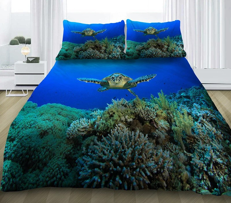 Sea turtle bedding set sea turtle print duvet cover by