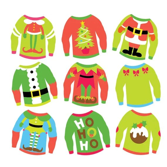 christmas ugly sweaters clipart