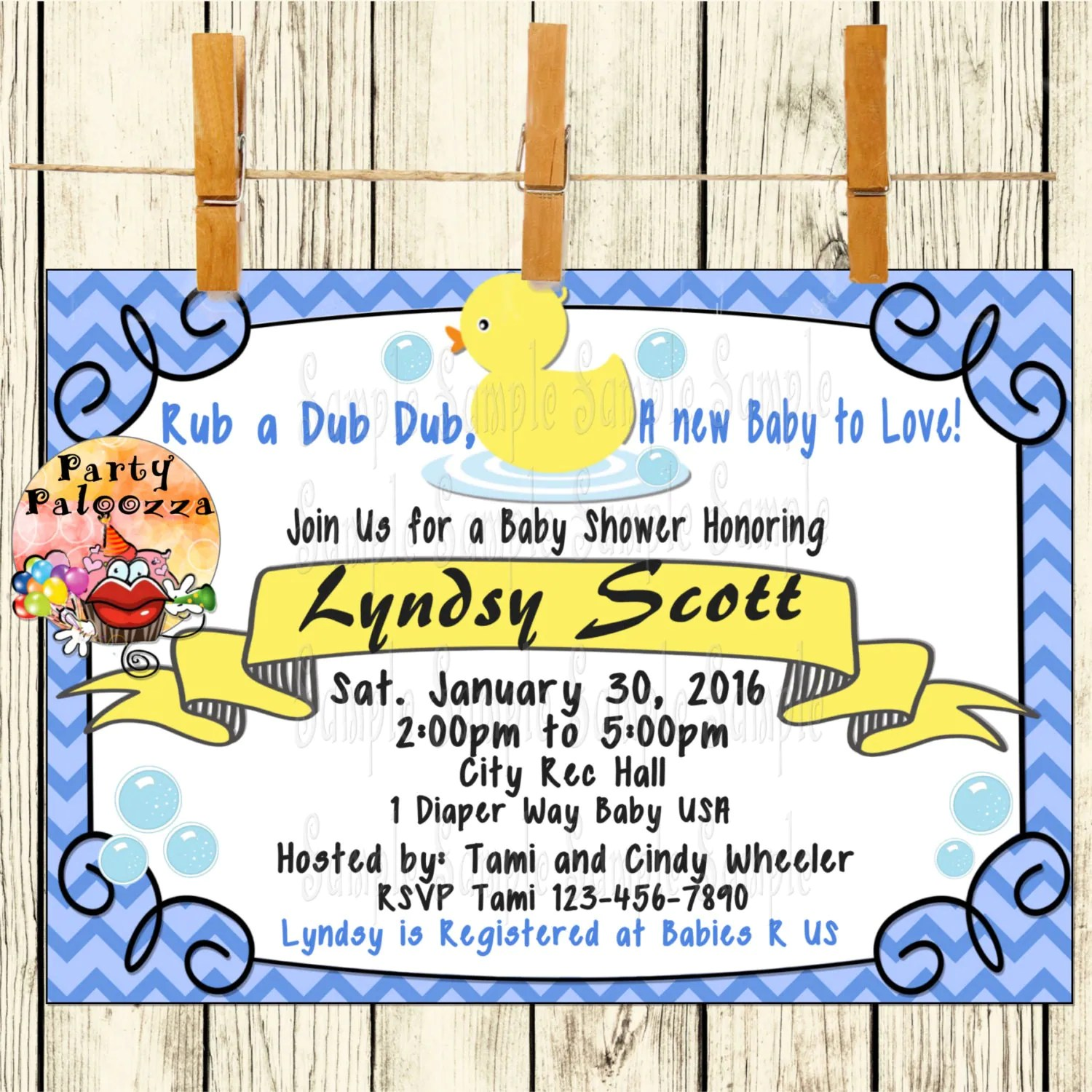 Printable Baby Duck Baby Shower Invitation