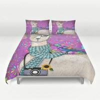 Hipster Llama Bedding Purple Floral Bird Duvet by FolkandFunky