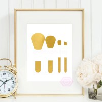 Gold Makeup Brushes Makeup print Printable by PrintsbyPhetssy
