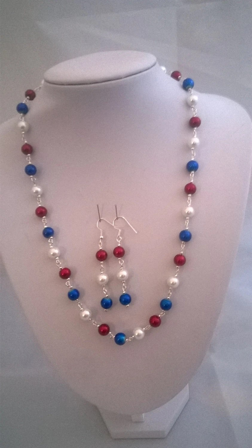 Handmade Patriotic Jewellery Set Red White And Blue Jewelry