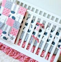 Girl Whale Crib Bedding Anchor Baby Bedding Nautical Crib