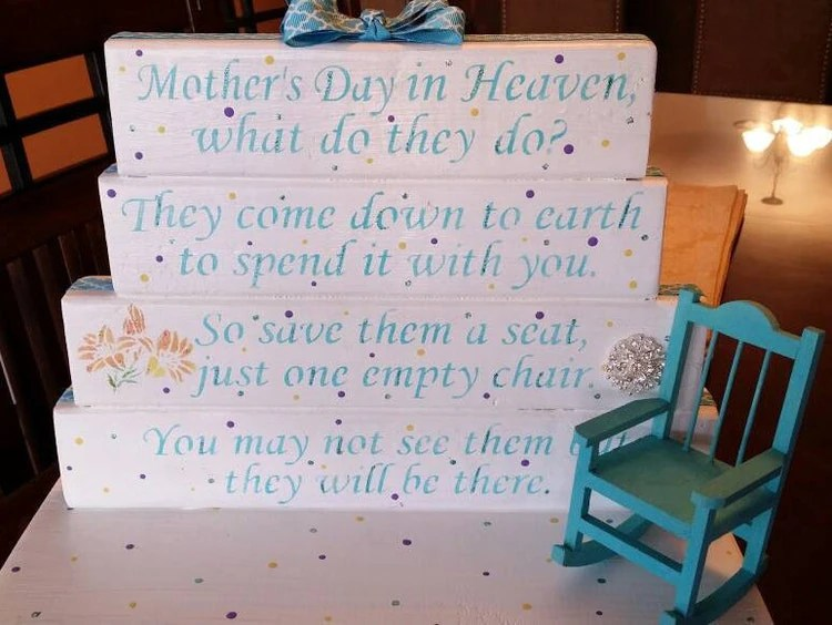 Mothers Day In Heaven Poem Table Top Display Handmade By