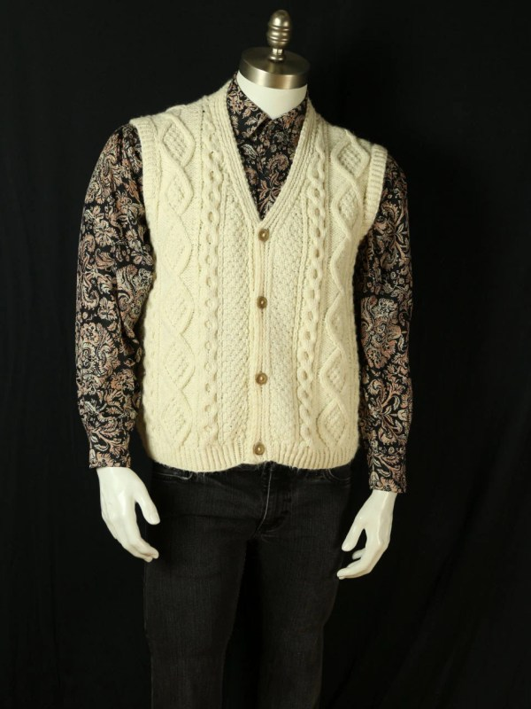 Mens Cable Knit Sweater Vest White Irish Fisherman