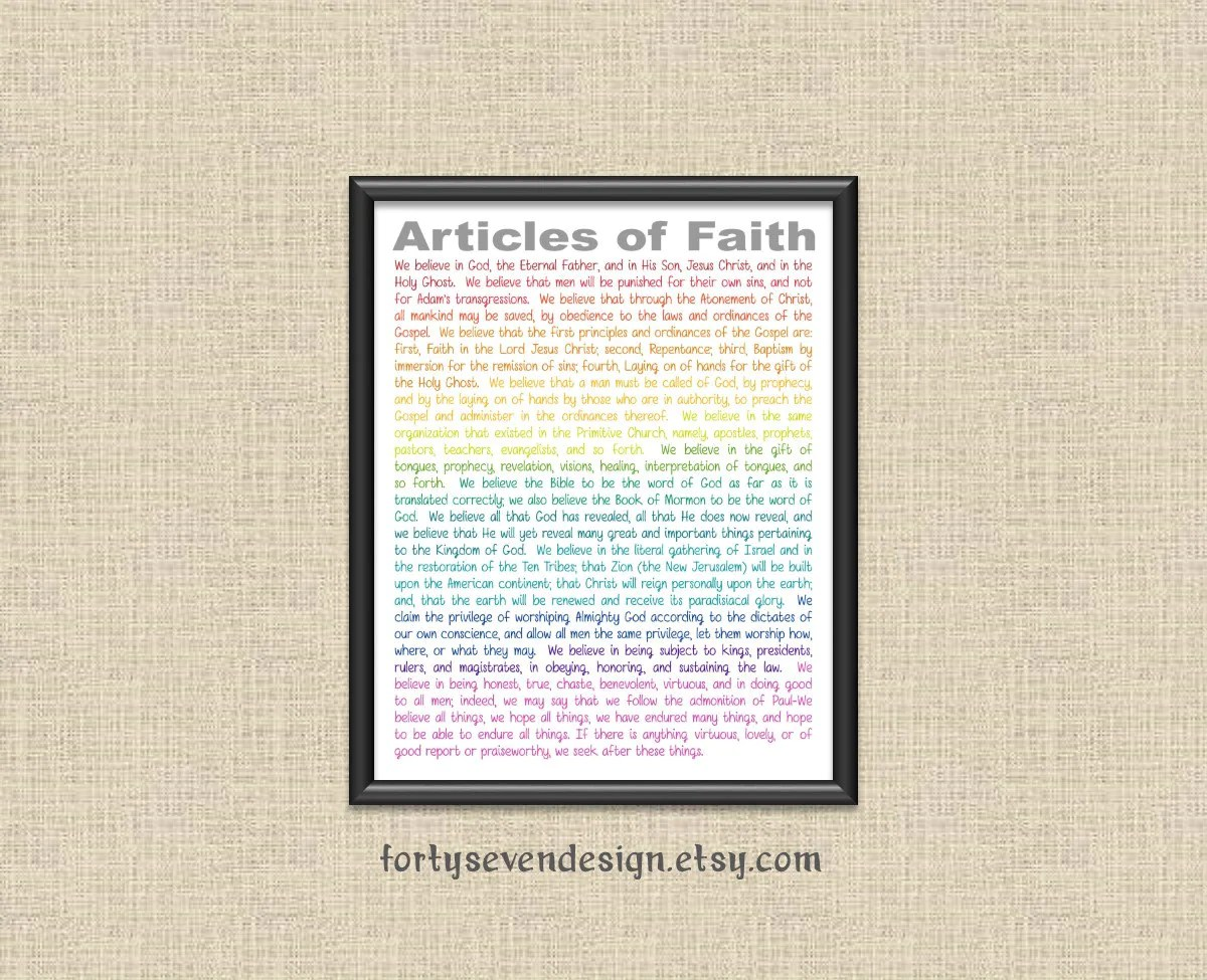 Lds 13 Articles Of Faith Printable Wall Art