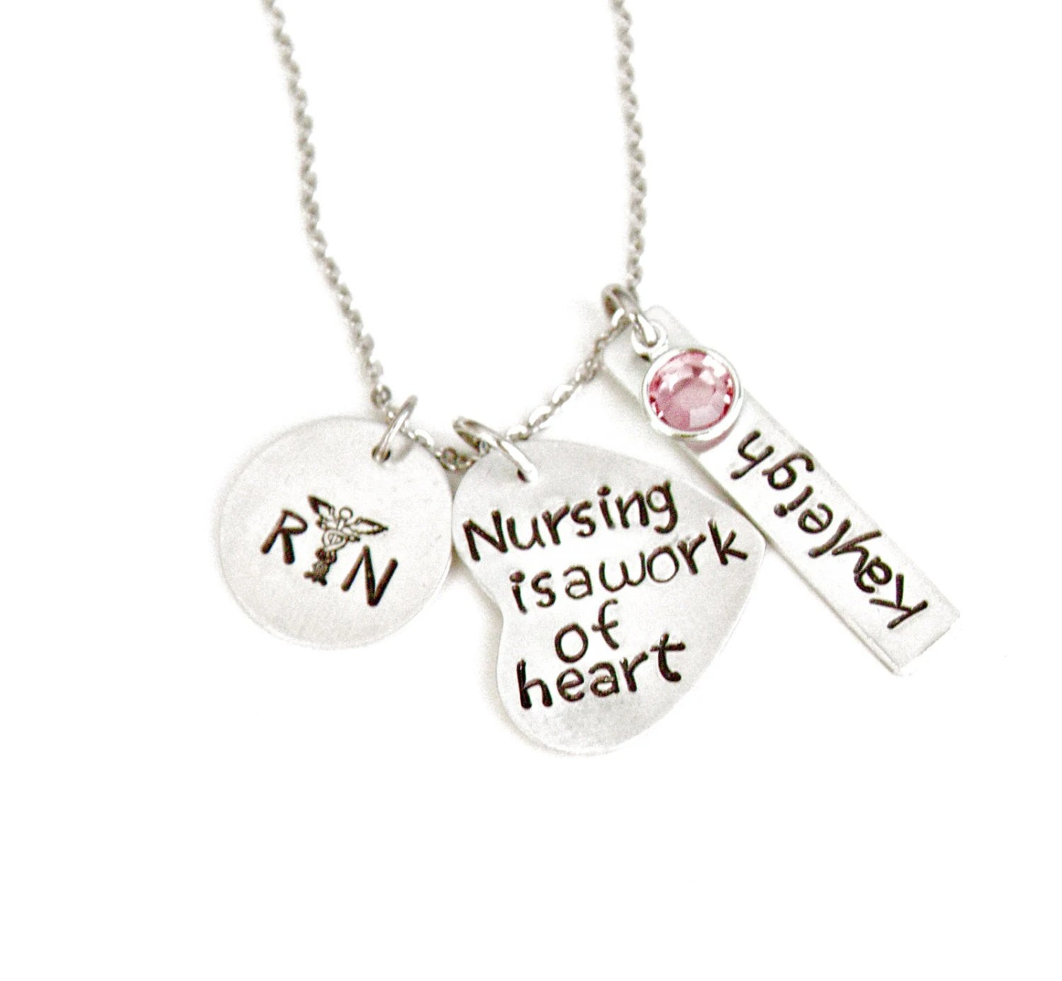 Hand Stamped Necklace Personalized Birthstone by Debenadesigns