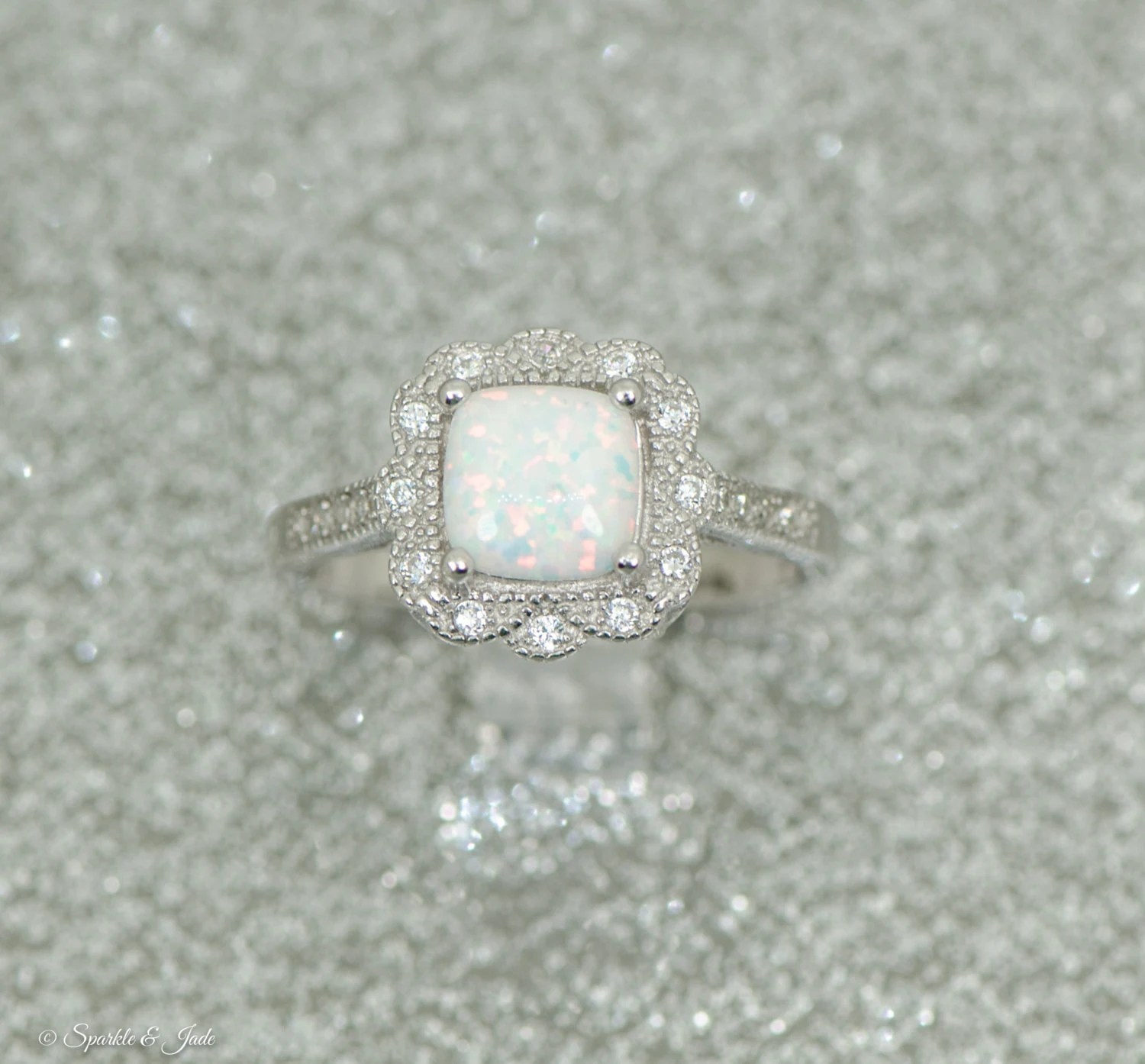 Sterling Silver Cushion Cut Opal Floral Halo Ring by