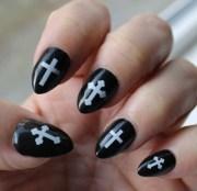 white gothic cross nail art crw